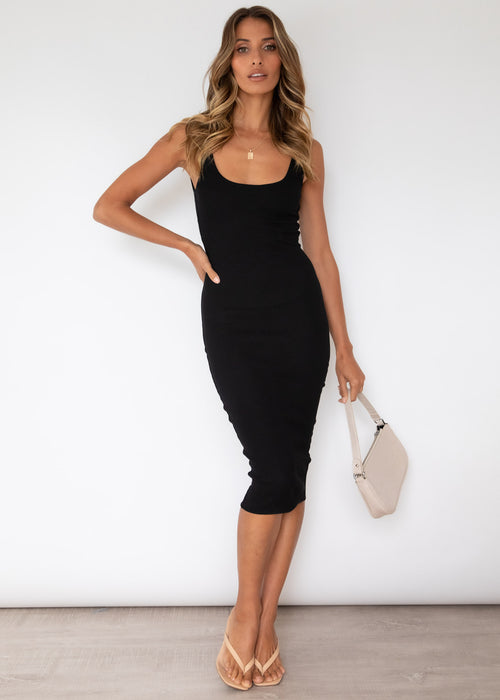 Sydney Knit Midi Dress - Black