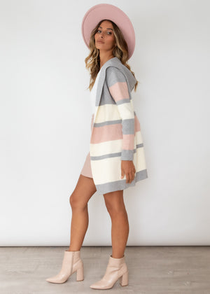 Marsden Hooded Cardi - Blush Stripe
