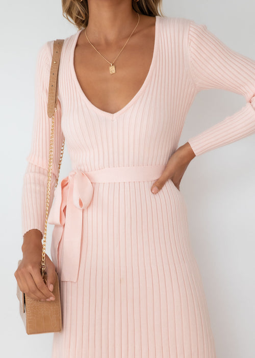 Harlan Knit Midi Dress - Blush