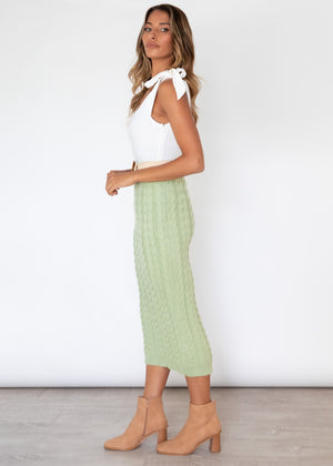 Adira Knit Midi Skirt - Mint
