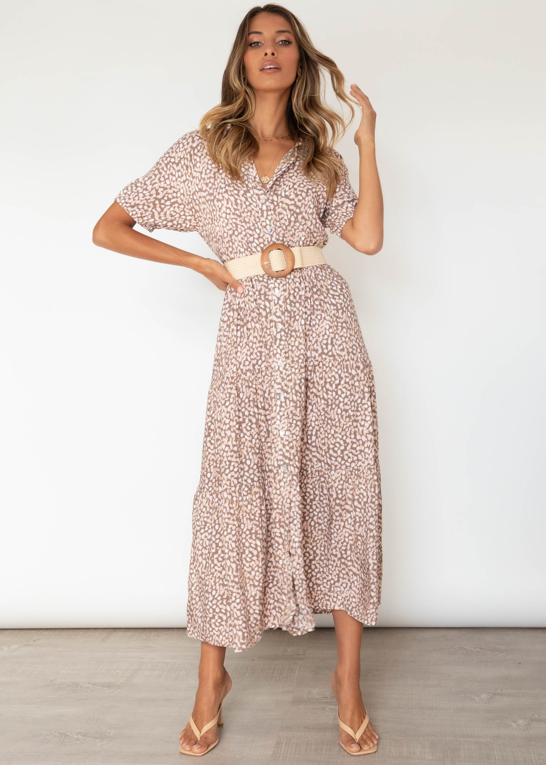 Tucana Midi Dress - Blush Leopard