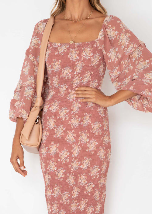 Norah Midi Dress - Rose Floral