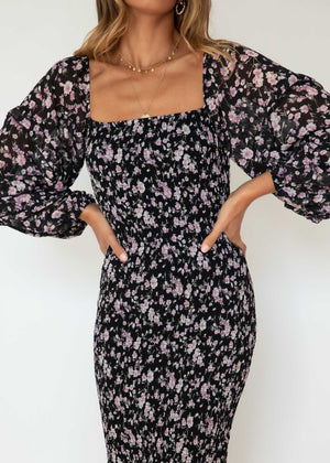 Norah Midi Dress - Black Roses