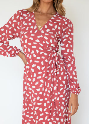 Blissful Wrap Midi Dress - Rose Fleck