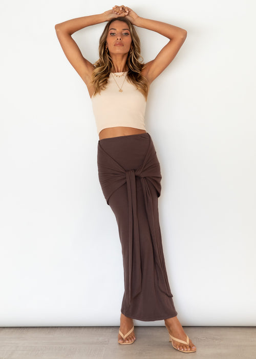 Tiller Tie Maxi Skirt - Chocolate