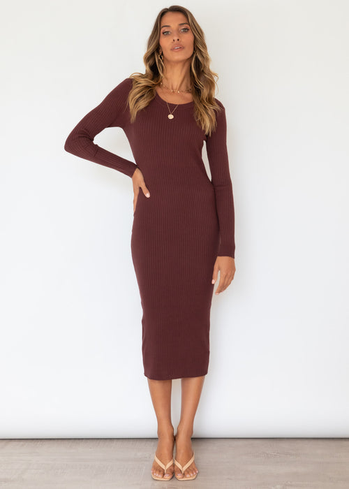 Jahdiel Knit Midi Dress - Chocolate