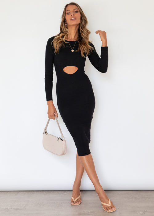 Melanie Knit Midi Dress - Black