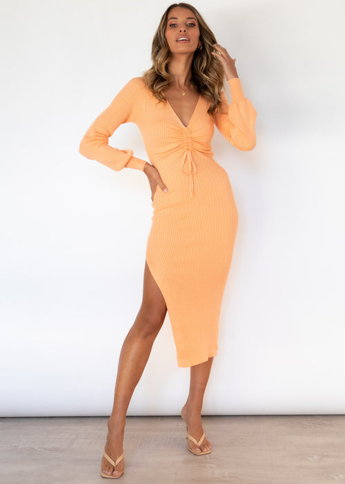 Pakaria Knit Midi Dress - Tangerine