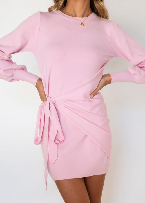 Evergreen Tie Knit Dress - Pink