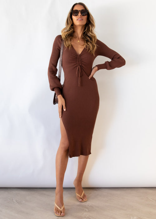 Pakaria Knit Midi Dress - Chocolate