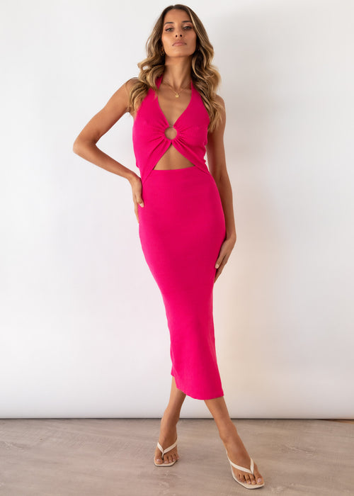 Cabo Nights Cut Out Knit Midi Dress - Fuchsia