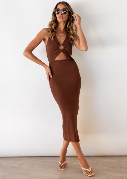 Cabo Nights Cut Out Knit Midi Dress - Chocolate