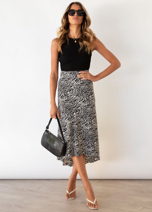 Madalin Midi Skirt - Zebra