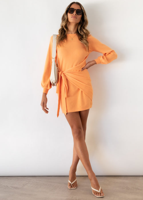 Evergreen Tie Knit Dress - Tangerine