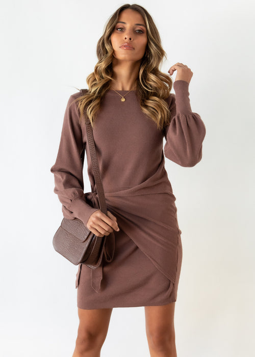 Evergreen Tie Knit Dress - Chocolate
