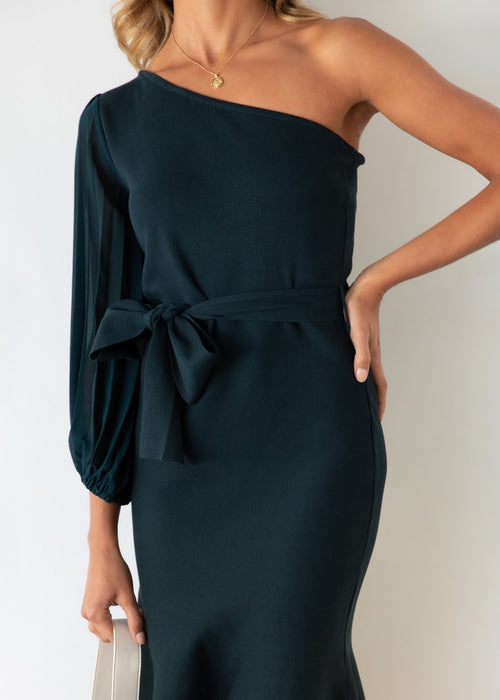 Maelie One Shoulder Knit Midi Dress - Emerald