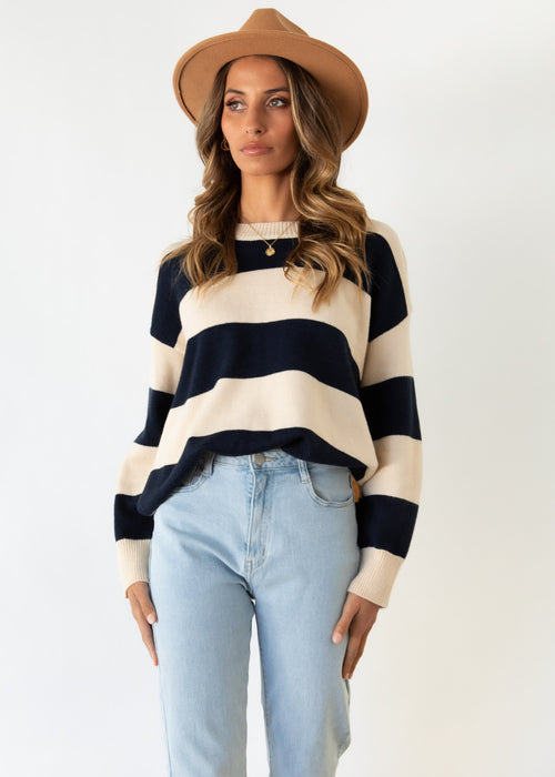 Zaharrah Sweater - Black Stripe