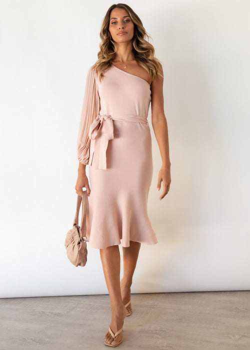 Maelie One Shoulder Knit Midi Dress - Dusty Pink