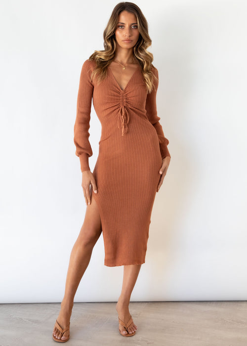Pakaria Knit Midi Dress - Caramel