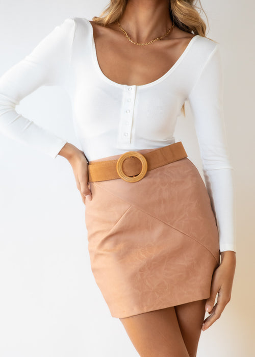 Billy PU Skirt - Tan