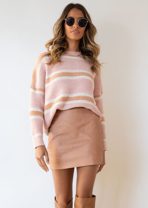 Open Roads Sweater - Blush Stripe