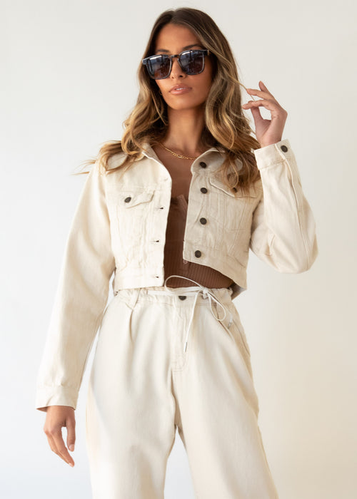 Nirvana Cropped Denim Jacket - Beige