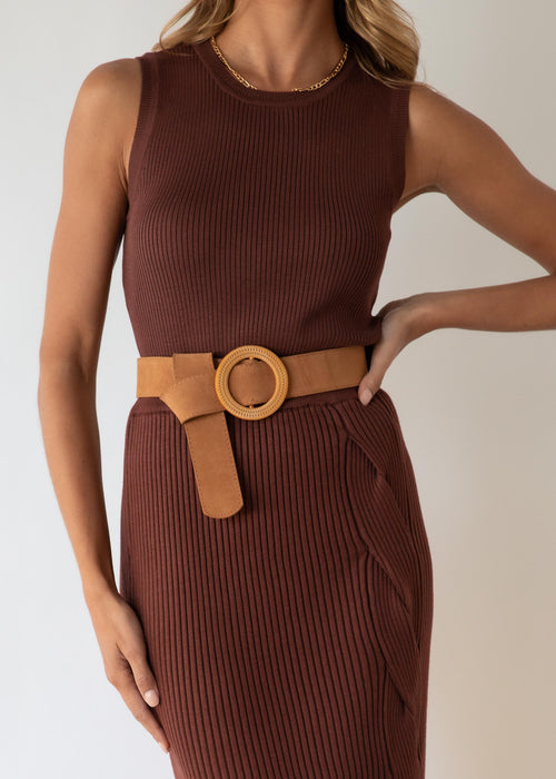 Chaska Knit Midi Skirt - Chocolate