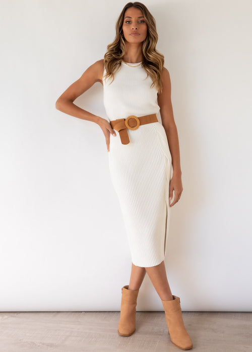 Chaska Knit Midi Skirt - Off White