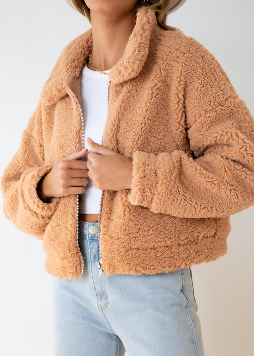Carey Teddy Jacket - Camel