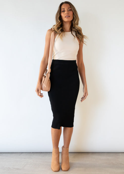 Piera Knit Midi Skirt - Black