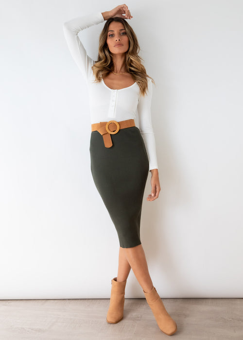Piera Knit Midi Skirt - Khaki
