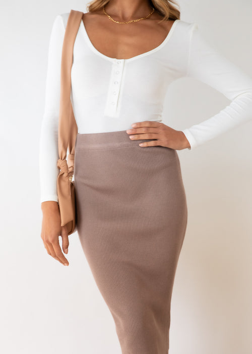 Piera Knit Midi Skirt - Beige