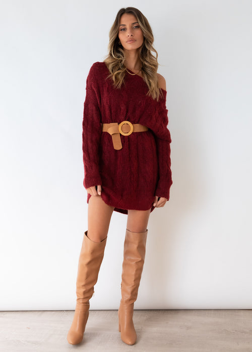 Wally Sweater Dress - Wine