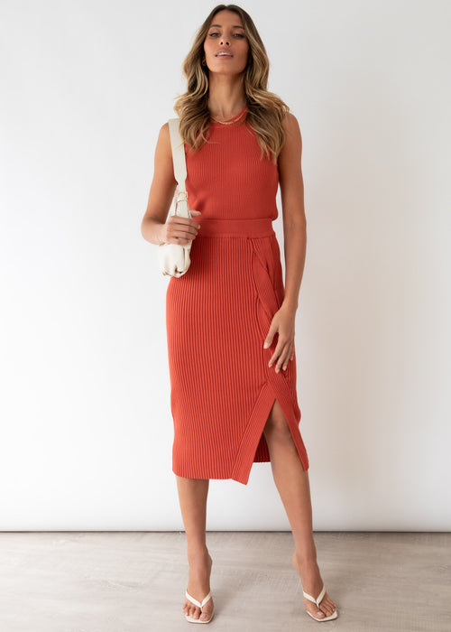 Chaska Knit Midi Skirt - Rust