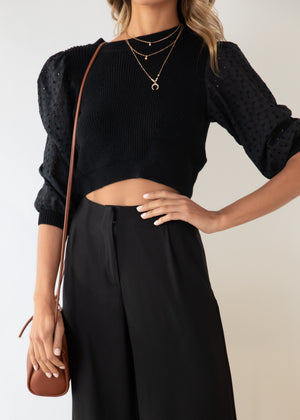 Cyprina Knit Top - Black