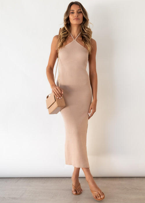 Skyler Halter Knit Midi Dress - Beige