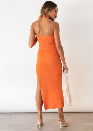 Skyler Halter Knit Midi Dress - Tangerine