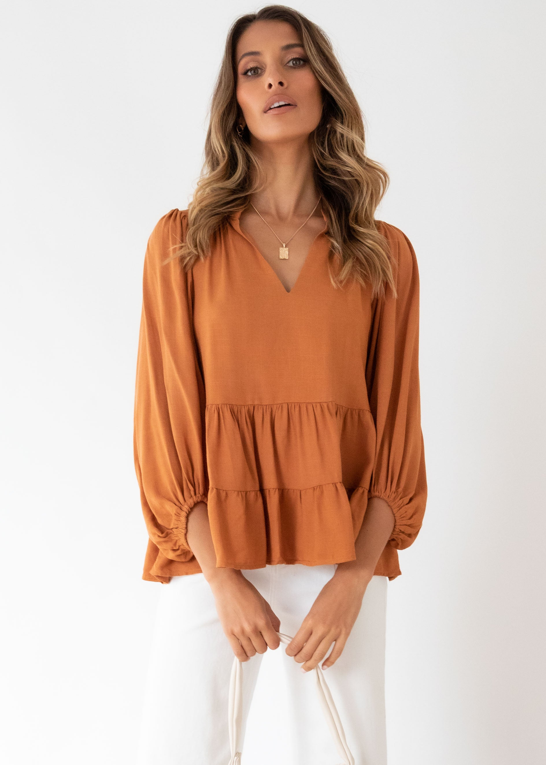First Move Blouse - Cinnamon