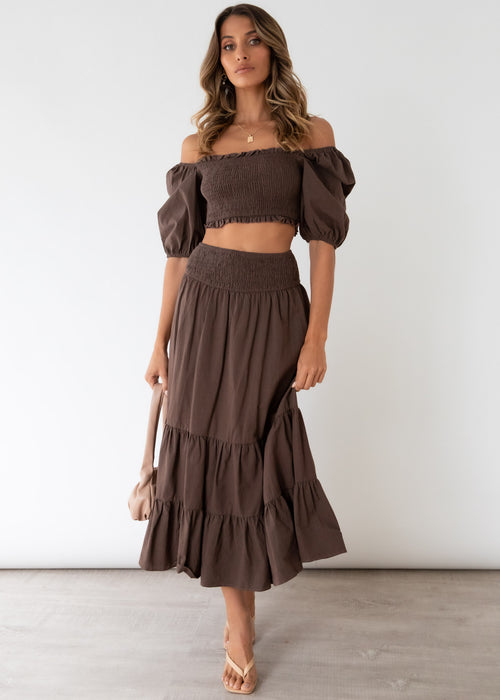 Press Pause Midi Skirt - Chocolate