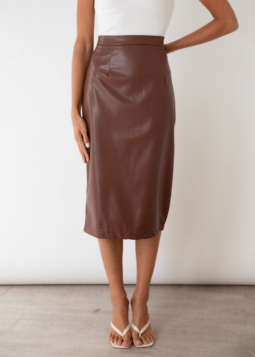 Jana Pu Midi Skirt - Chocolate