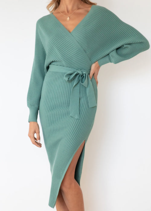 Tazzy Knit Midi Dress - Sage