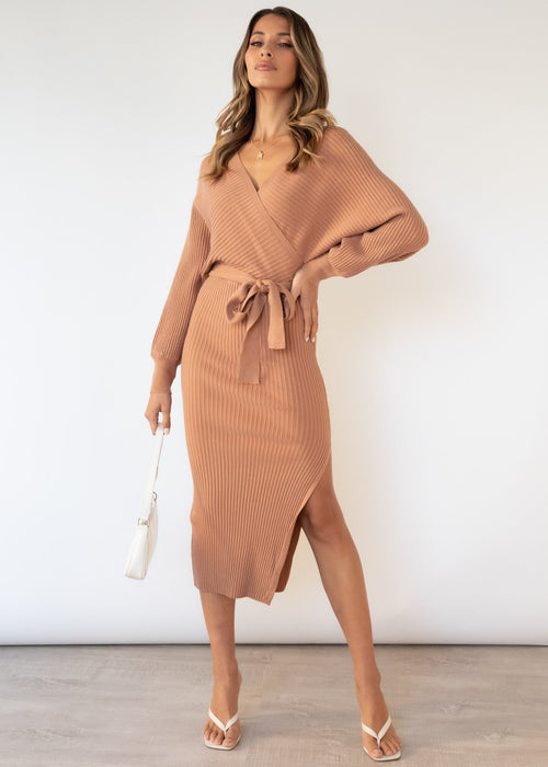 Tazzy Knit Midi Dress - Caramel