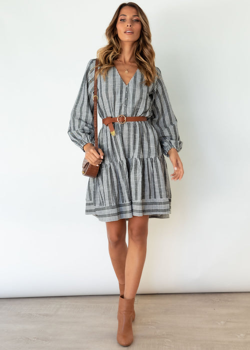 Island Escape Dress - Charcoal Stripe