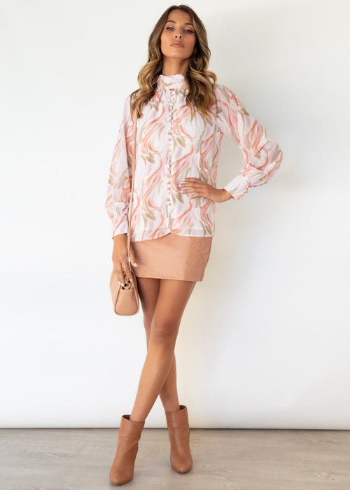 Nellie Blouse - Blush Watercolour