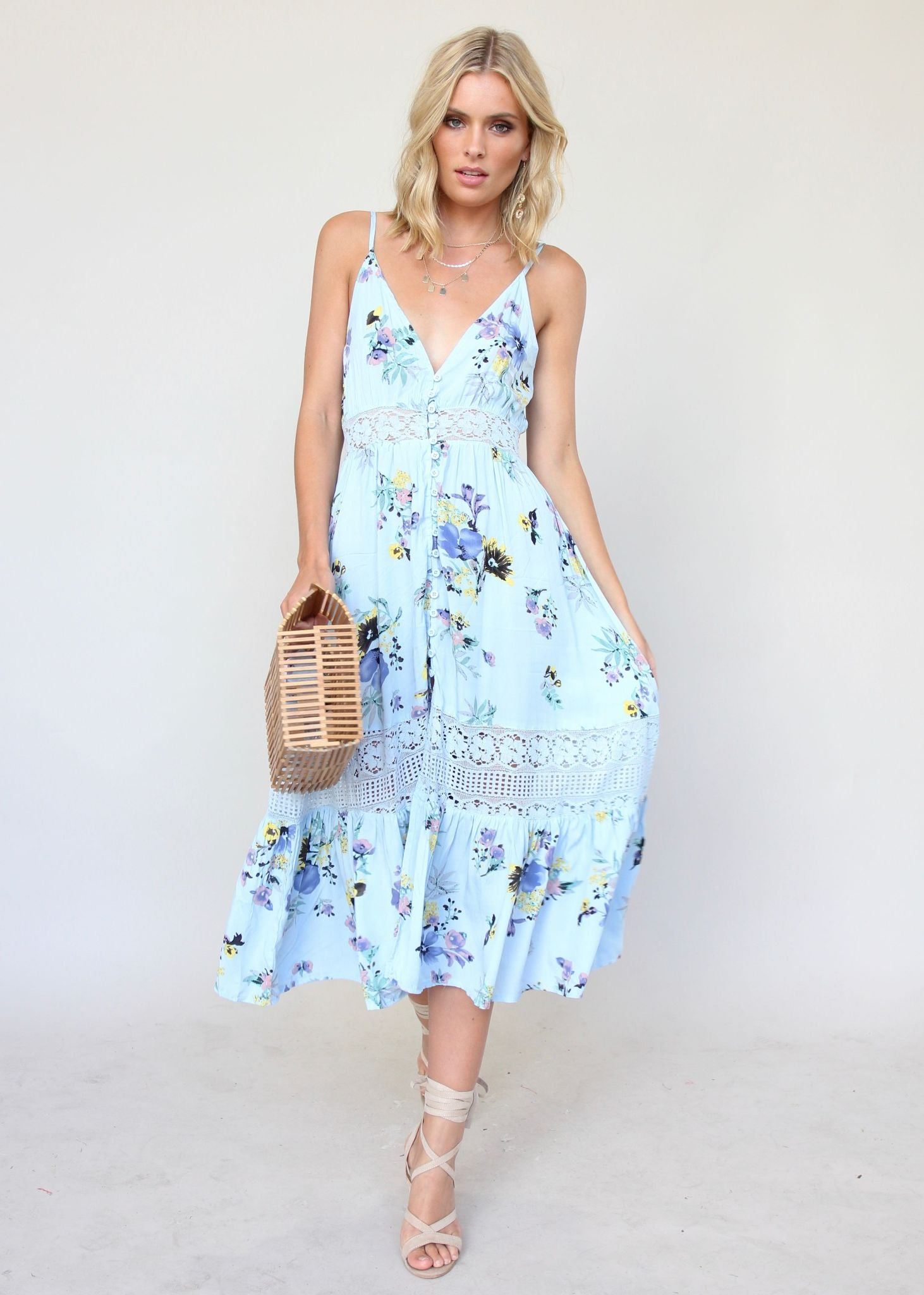 About The Weekend Midi Dress - Light Blue