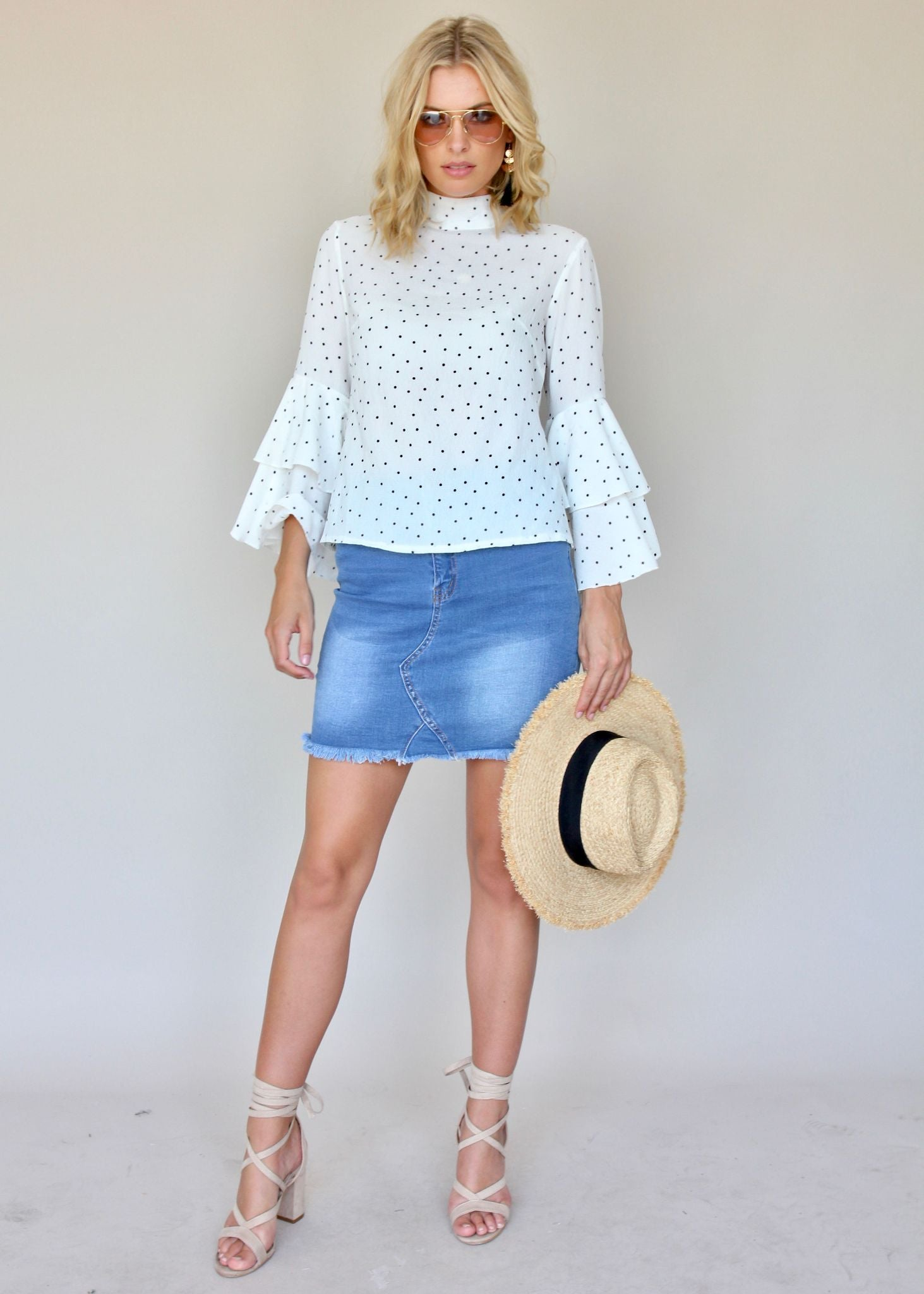 Unite Us Blouse - White Polka