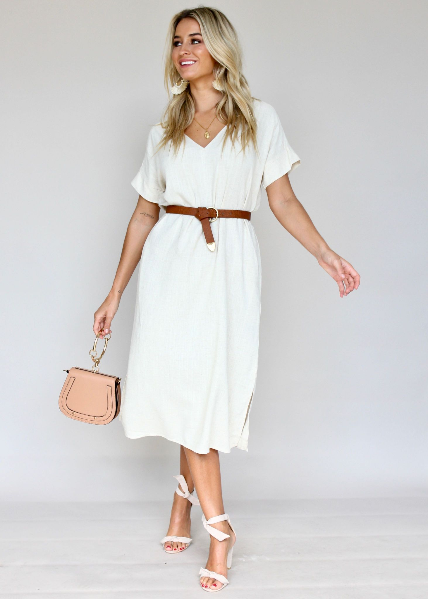Get Right Midi Dress - Beige