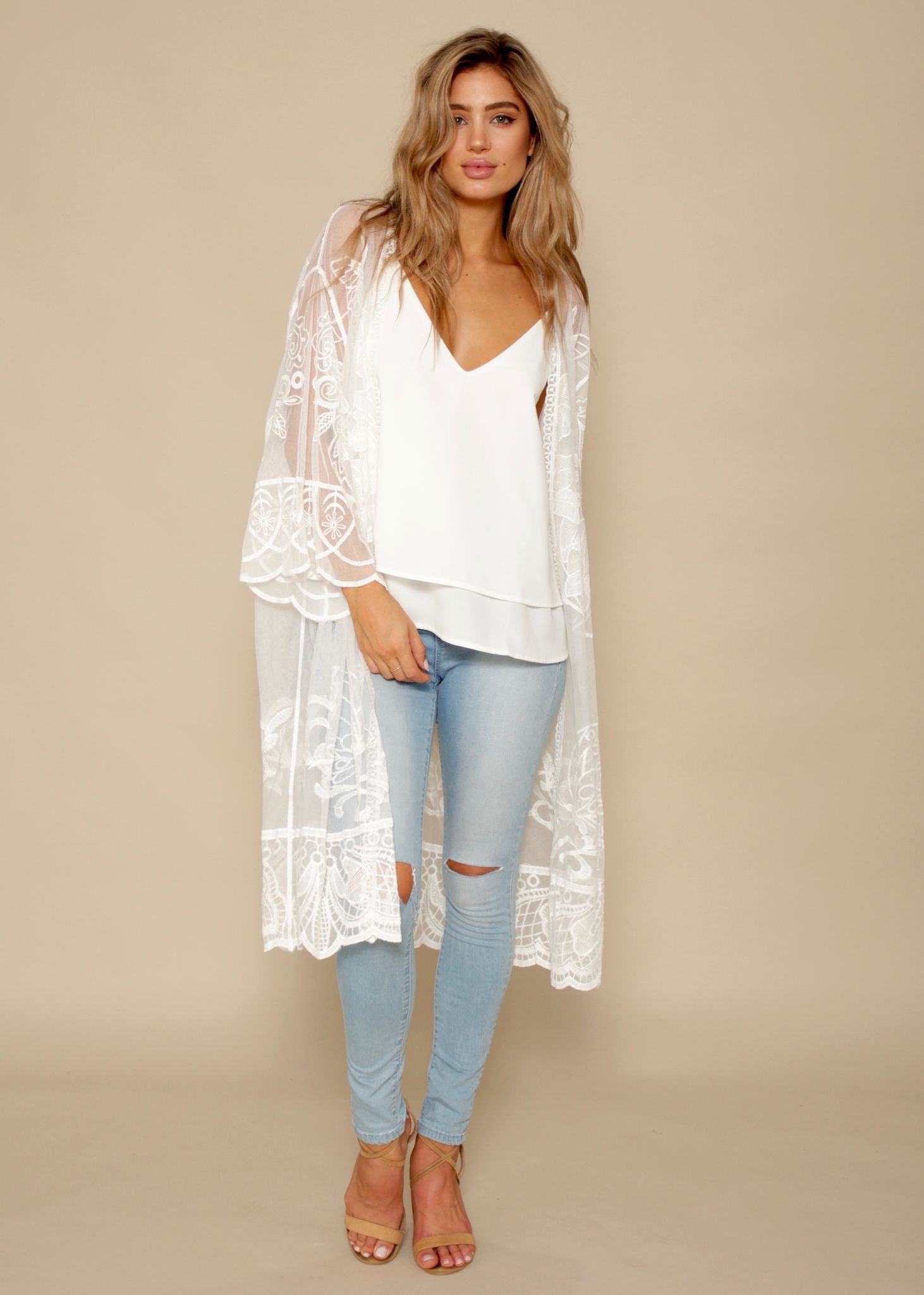 Wildflowers Lace Cape - White