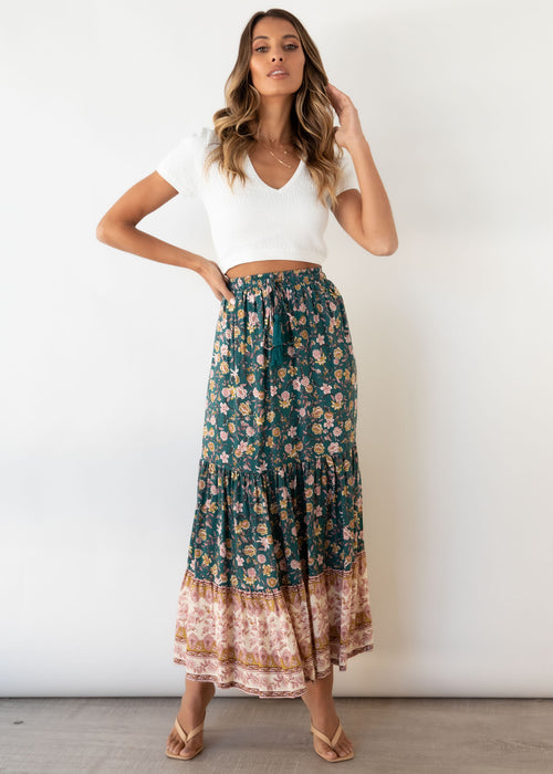 Sunseeker Maxi Skirt - Teal Paisley