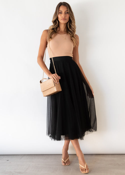 Typical Love Midi Skirt - Black